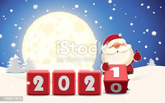 istock Santa Claus changing date from 2020 to 2021 rotating cubes with numbers in a winter surroundings 1288670875