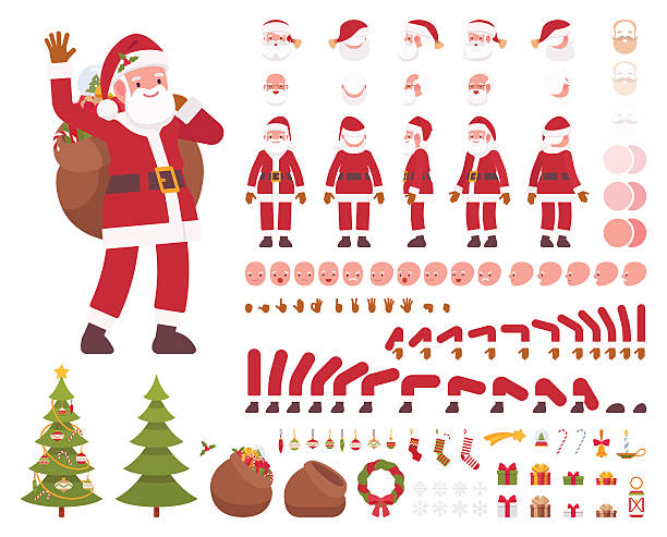 santa claus character creation set - old man smile silhouette stock illustrations