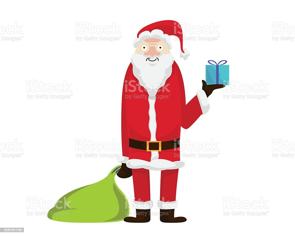 Santa Claus Character Holding The Last Gift