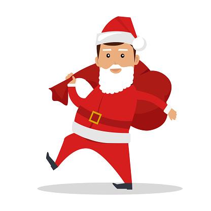 Santa Claus Character Vector Flat Design