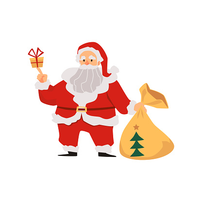 Santa Claus character with sack full of gifts flat vector illustration isolated.