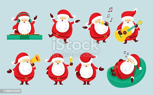istock Santa Claus Characters Set, Party Concept 1286840050