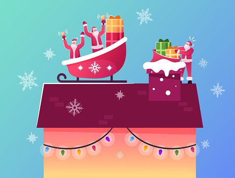 Santa Claus Characters Sitting in Reindeer Sledge on House Roof Throw Gifts Way Down to Chimney. Winter Time Holidays