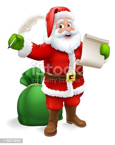 istock Santa Claus Checking Christmas Gift List Cartoon 1165478051