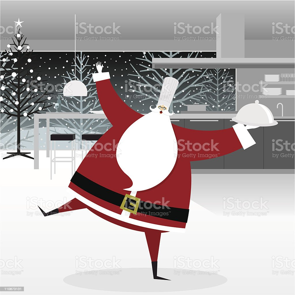 Santa Claus chef in the kitchen royalty-free stock vector art