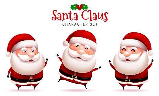 Santa claus christmas character vector set. Santa claus in 3d cute characters with happy, smiling, jolly and cheerful pose and gestures for xmas collection design.