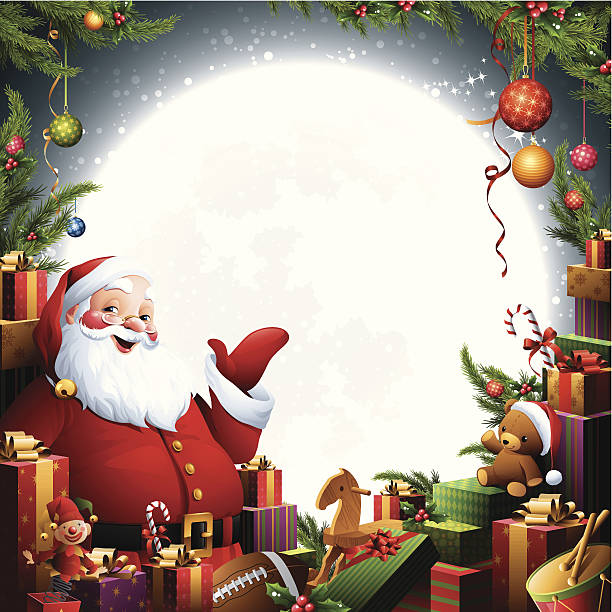 Santa Claus - Christmas Gifts - santa with pile of gifts and toys one senior man only illustrations stock illustrations