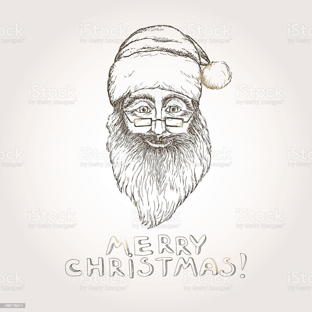 Santa Claus Weihnachten Hand Drawn Sketch Stock Vektor Art und mehr ...