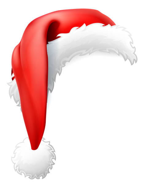 stockillustraties, clipart, cartoons en iconen met santa claus kerstmuts - kerstmanhoed