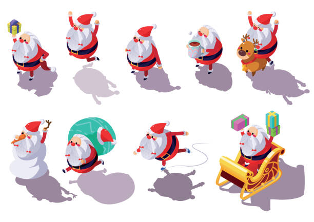 Santa Claus Christmas in Different Action and Pose Icons Santa Claus Christmas in Different Action and Pose Icons. Vector Illustration. alternative pose stock illustrations