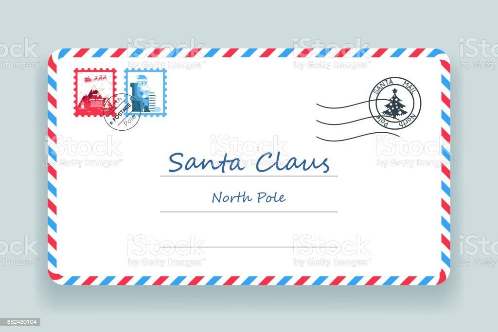 Santa Claus Christmas Postale Adresse Lettre Poste Illustration