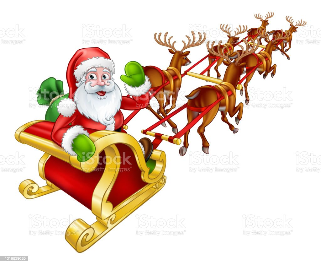 santa claus christmas reindeer and sled sleigh stock illustration download image now istock santa claus christmas reindeer and sled sleigh stock illustration download image now istock