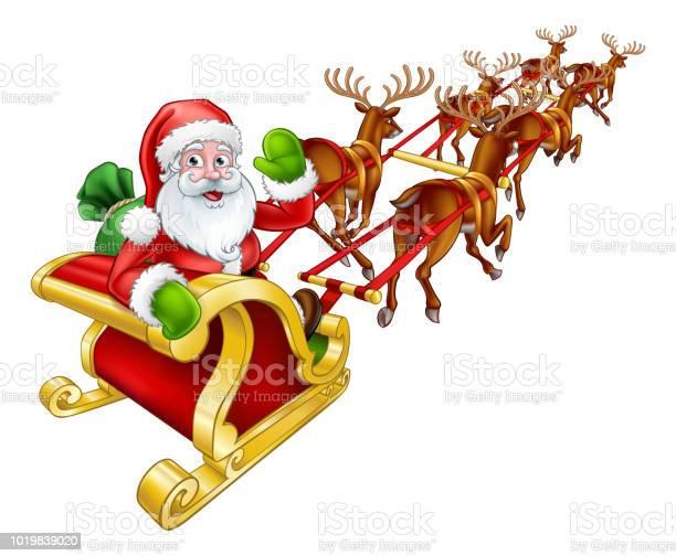 Santa claus christmas reindeer and sled sleigh vector id1019839020?b=1&k=6&m=1019839020&s=612x612&h=kv0cieegs8eu5s87kczq2puwwqjekzg1jbqjakn pvu=