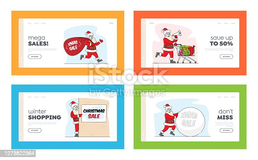 Santa Claus Christmas Sale Announcement Landing Page Template Set. Xmas Character in Costume Hold Banners with Ad Text
