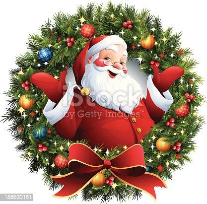istock Santa Claus - Christmas Wreath 158630181