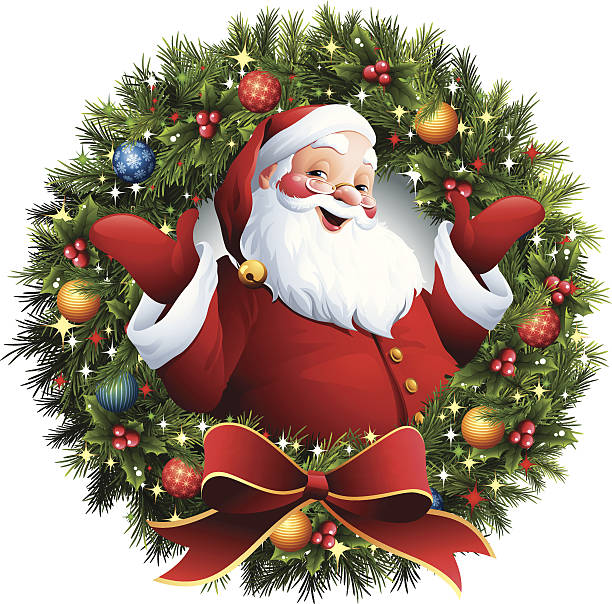 Santa Claus - Christmas Wreath - santa in a christmas wreath one senior man only illustrations stock illustrations