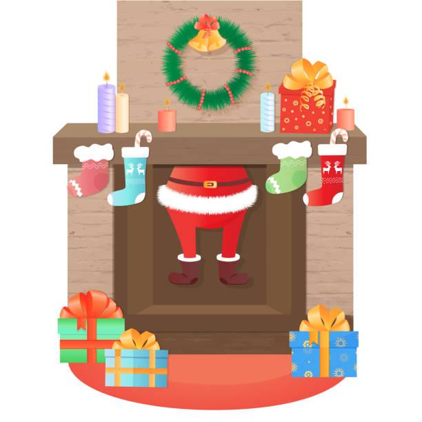 santa claus klettert aus dem kamin. weihnachts-dekoration. - kaminverkleidungen stock-grafiken, -clipart, -cartoons und -symbole