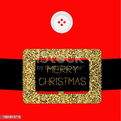 Santa Claus Coat with button and gold glitter belt. Merry Christmas greeting card. Flat design. Red background Vector illustration