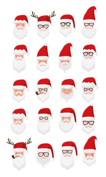 santa claus collection - secret santa messages stock illustrations