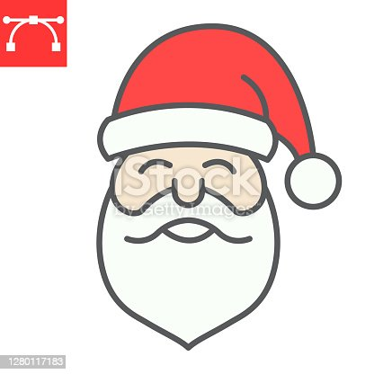 istock Santa Claus color line icon, merry christmas and xmas, new year sign vector graphics, editable stroke filled outline icon, eps 10. 1280117183