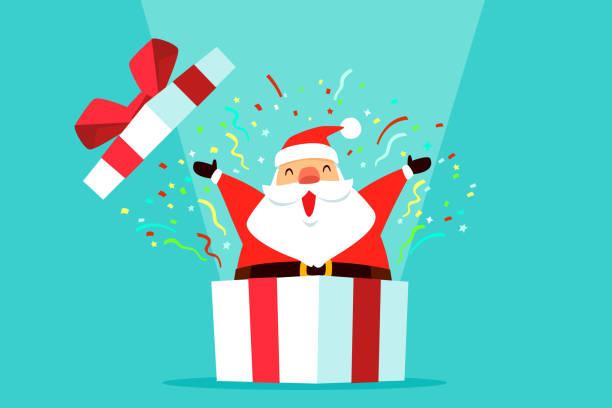 Santa claus kommen aus Geschenk-Box mit Konfetti – Vektorgrafik