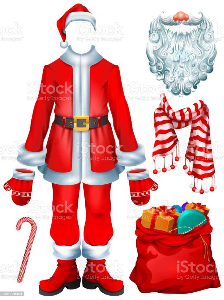 2cbacbfce1e Santa Claus Costume Robe Et Chapeau Daccessoires De Noël Barbe ...