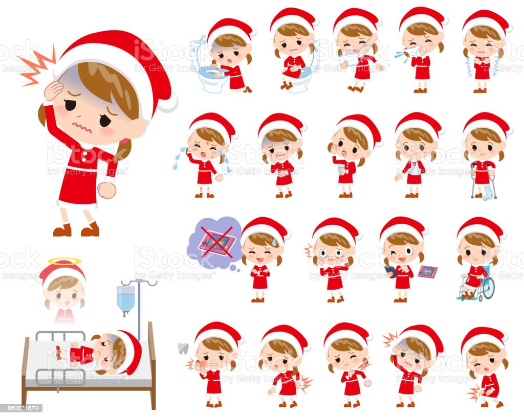Santa Claus Costume girl_sickness vector art illustration