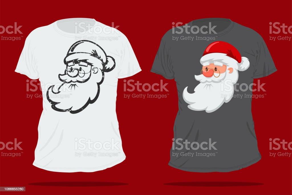 santa claus cute cartoon head christmas tshirt vector design