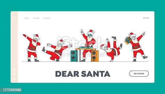 istock Santa Claus Dancing Landing Page Template. Funny Christmas Characters Making Dab Move, Dance Break and Hip Hop Dance 1272300385