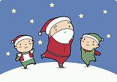 Santa Claus dancing with Elves at Christmas Night vector illustration cartoon.