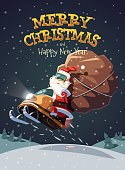 Santa Claus dashing through the snow on snowmobile