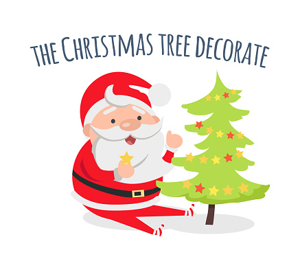 Santa Claus Decorate Xmas Tree Evergreen Fir