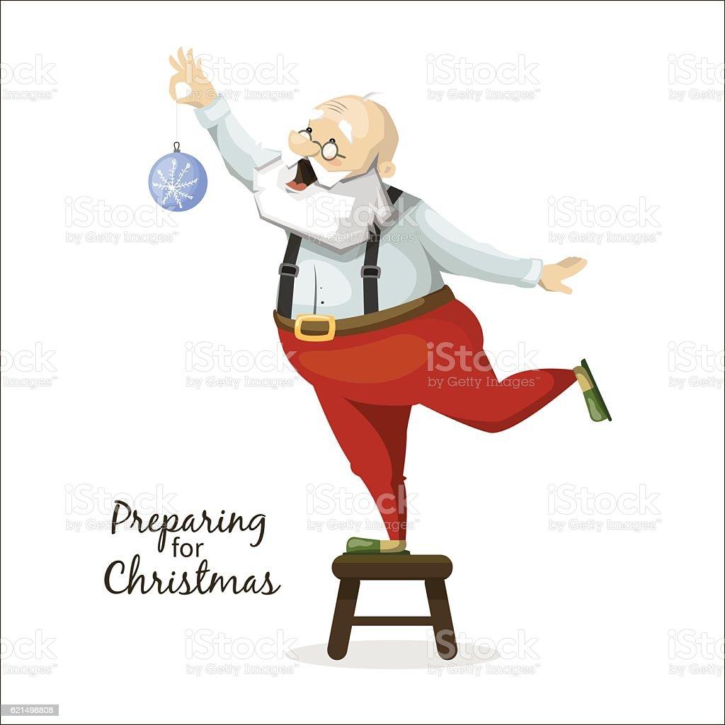 Santa Claus decorates a Christmas tree toy santa claus decorates a christmas tree toy – cliparts vectoriels et plus d'images de arbre libre de droits