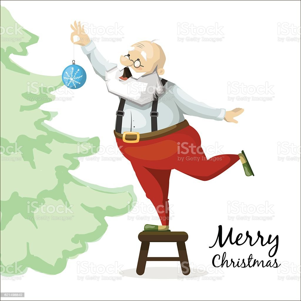 Santa Claus decorates a Christmas tree toy santa claus decorates a christmas tree toy – cliparts vectoriels et plus d'images de arbre libre de droits