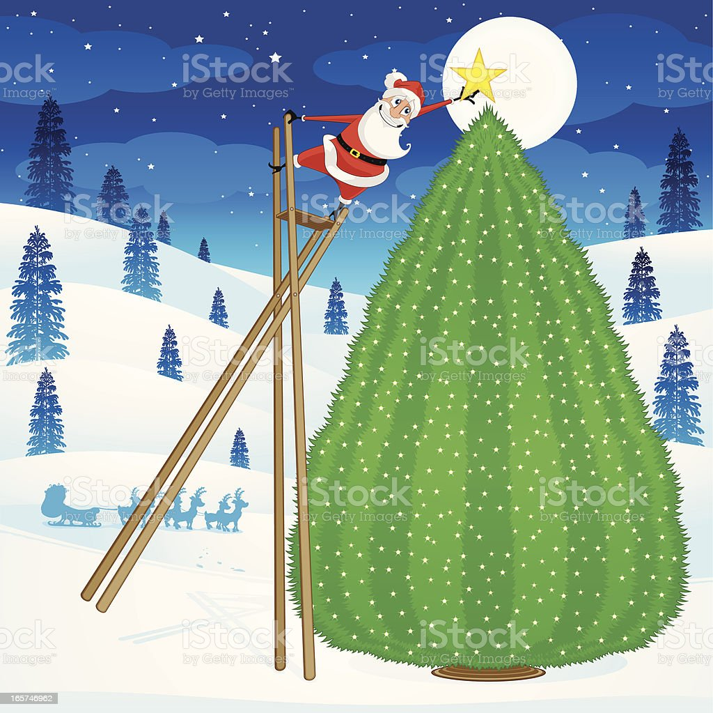 Santa Claus decorating a Christmas Tree vector art illustration
