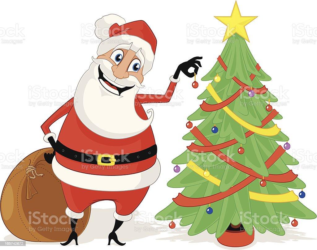 Santa Claus decorating his Christmas Tree vector art illustration