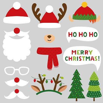 Santa Claus, deer and elf vector Christmas photo booth props (hats, beard, mustaches, antlers)