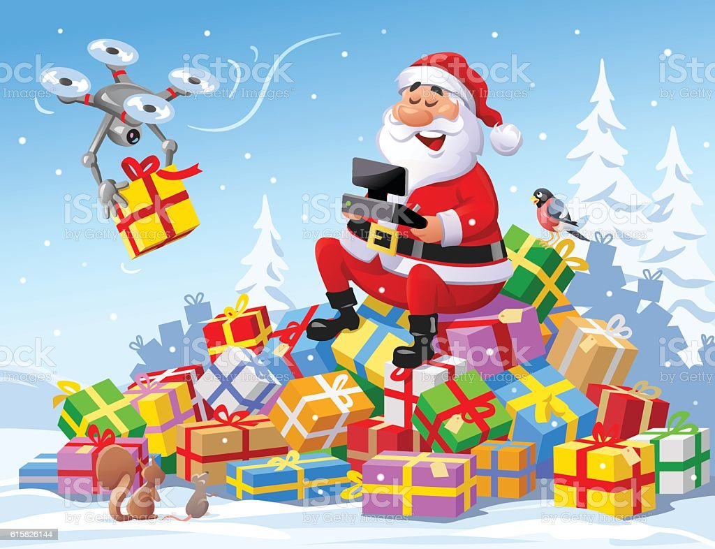 santa claus delivering christmas presents with a drone royalty free santa claus delivering christmas presents - Santa Claus Presents