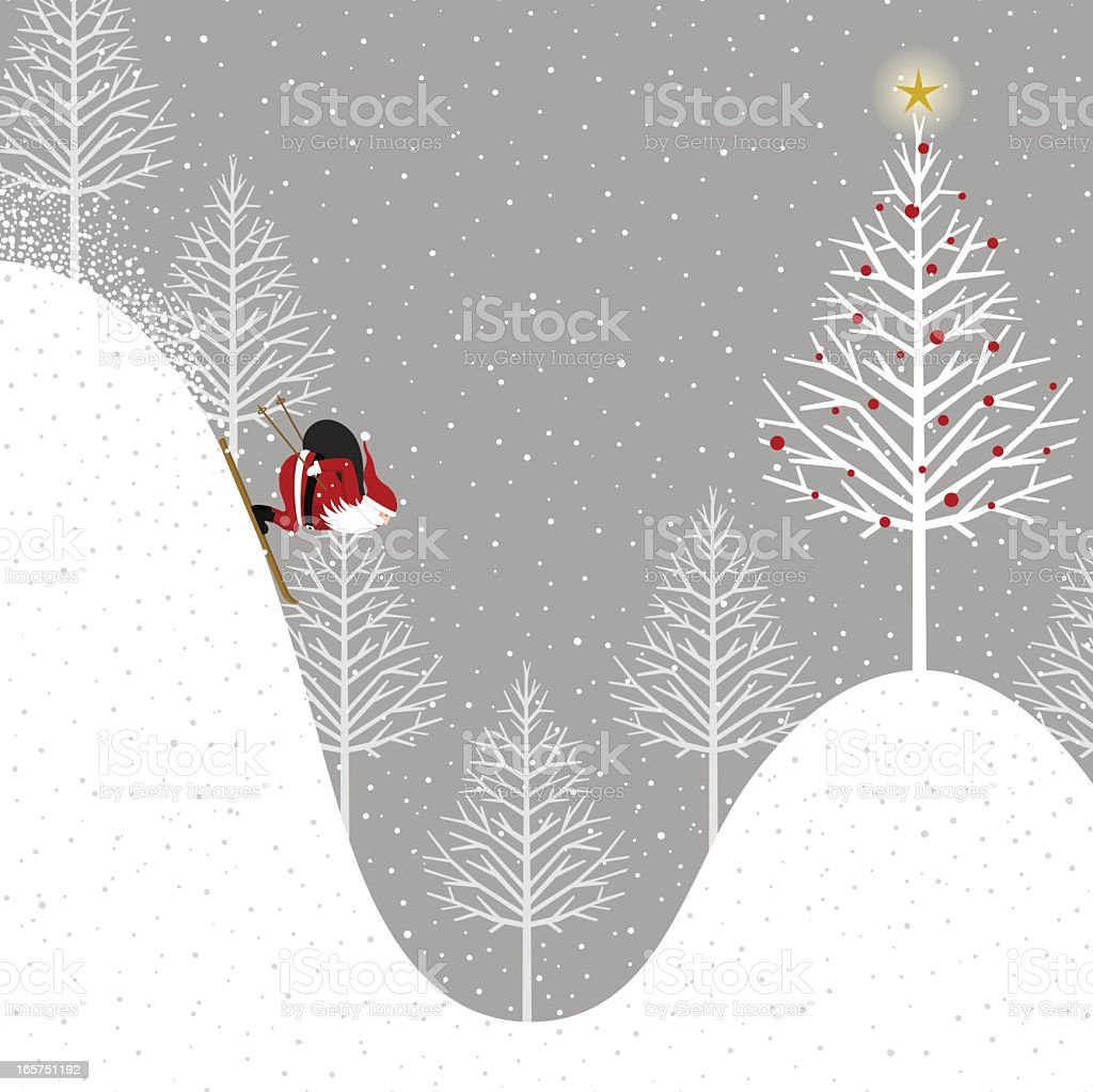 Santa Claus delivering presents vector art illustration