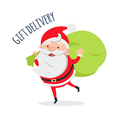 Santa Claus Delivers Gifts to Children. Vector