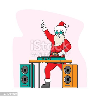 istock Santa Claus DJ in Headset Making Music at Console at Night Club. Cool Christmas Character in Red Disco Dance Xmas Party 1271084539