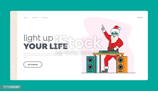 istock Santa Claus DJ in Headset Making Music at Console at Night Club Landing Page Template. Christmas Character Disco Dance 1272300387