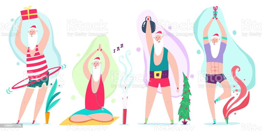 Santa Claus Yoga Und Fitness Ubungen Mit Hulahoop Und Gewicht