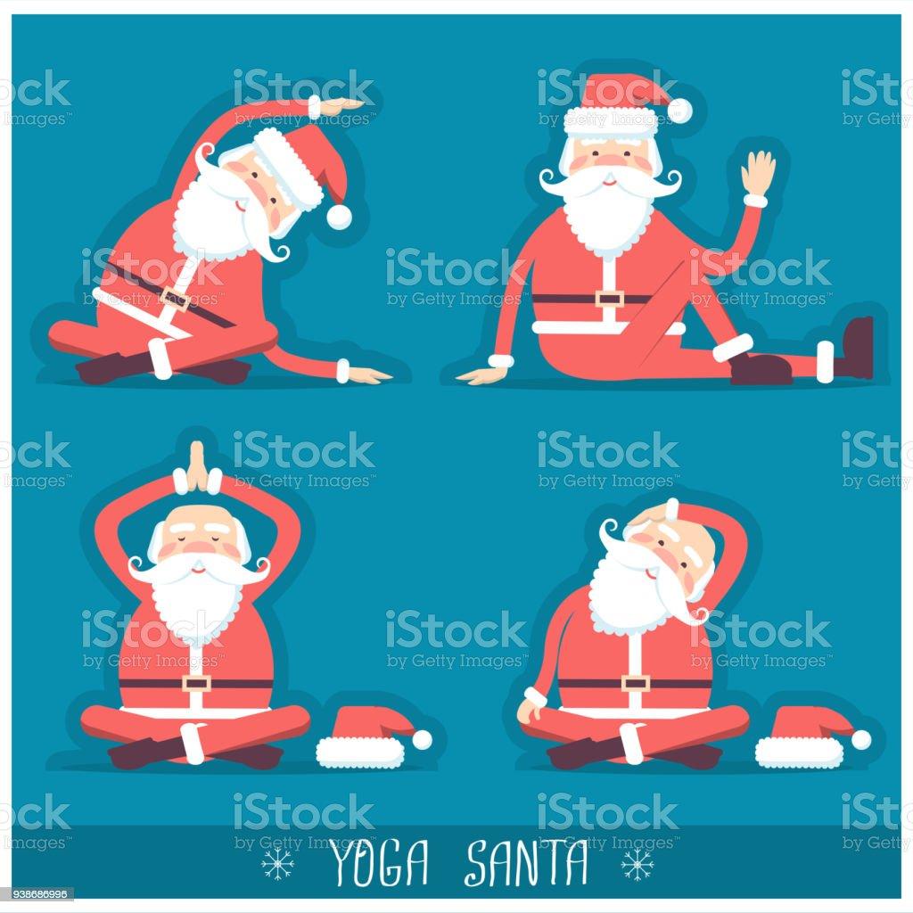 Santa Claus Doing Yoga Isolatedvector Christmas Card Illustration