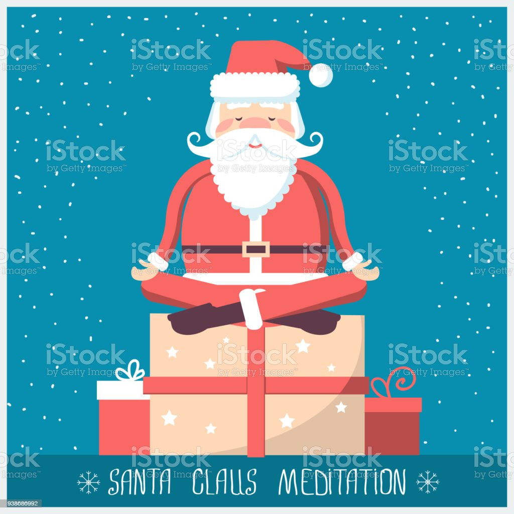 Santa Claus Doing Yoga Meditation And Sitting On Big Present
