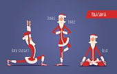 Santa Claus Doing Yoga. Vector Xmas Illustration. 3 Yoga Poses.