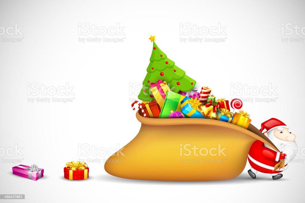 Santa Claus dragging Gift Bag royalty-free stock vector art
