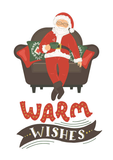 """santa claus drink tea in armchair with hand drawn lettering """"warm wishes"""". - old man sitting chair drawing stock illustrations, clip art, cartoons, & icons"""