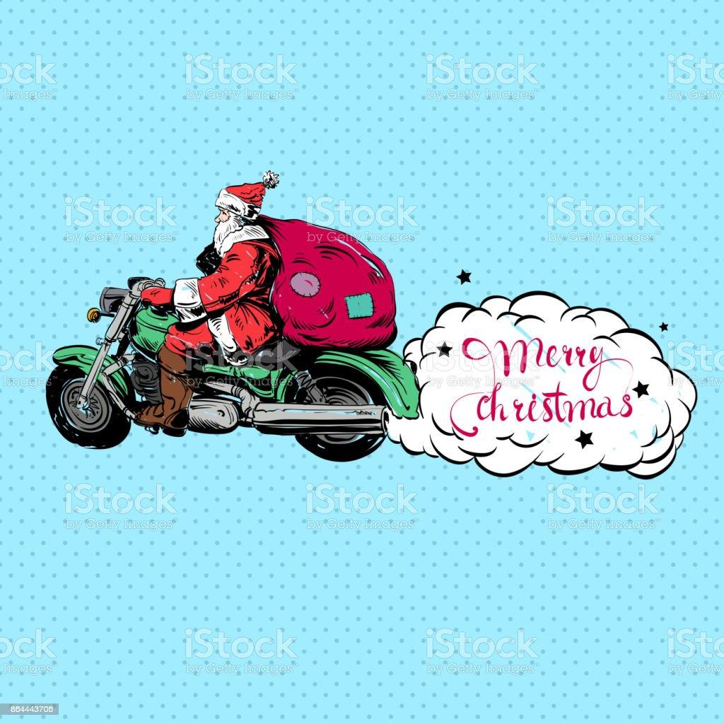 Frohe Weihnachten Motorrad.Santa Claus Ein Motorrad Zu Fahren Frohe Weihnachten Stock