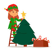 Santa Claus elf kids cartoon elf helpers vector christmas illustration children elves characters traditional costume. Family christmas kid holiday santa claus elf people.